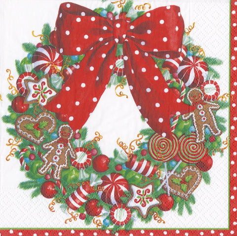 Caspari Candy Cane Wreath Paper Napkins - ash-dove