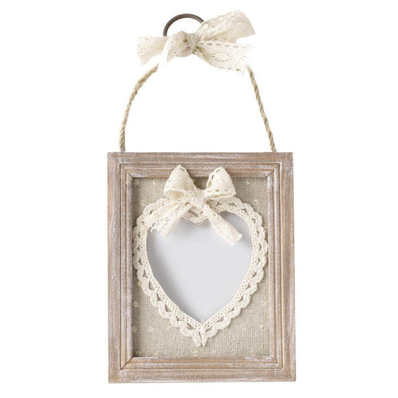 Heaven Sends Lace Effect Heart Photo Frame - ash-dove