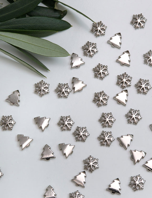 Snowflake Silver Metal Table Confetti by Retreat Home - ash-dove