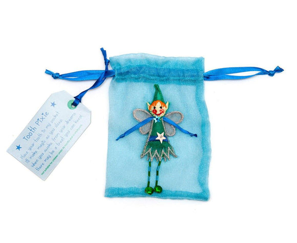 blue organza tooth pouch with pixie