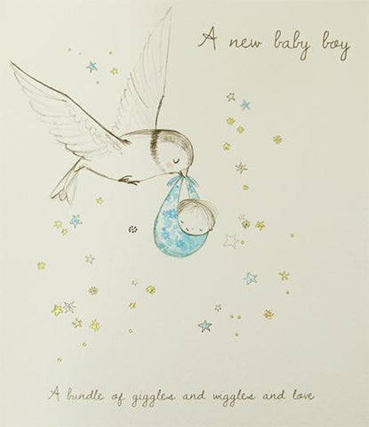 A new baby boy Greeting Card by Paperlink - ash-dove