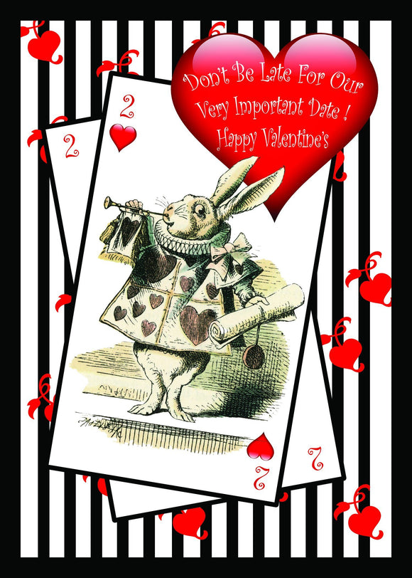 Wonderland White Rabbit Valentines Card by Ash & Dove - ash-dove