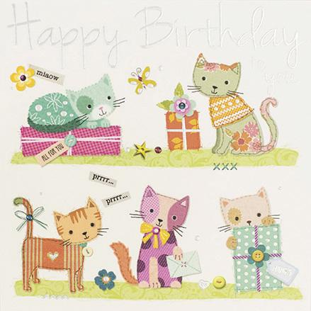 Cats Happy Birthday Greeting Card by Paperlink Greeting Cards Paperlink