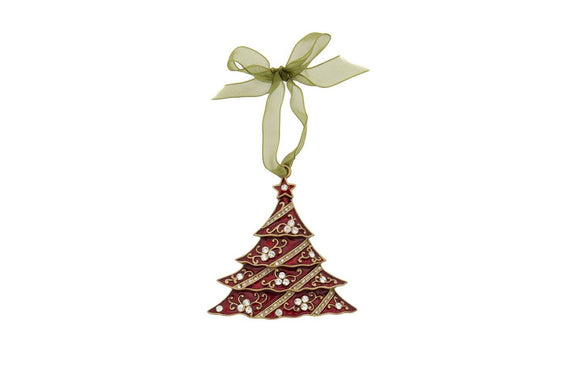 Red Enamel Christmas Tree Decoration by London Ornaments - ash-dove