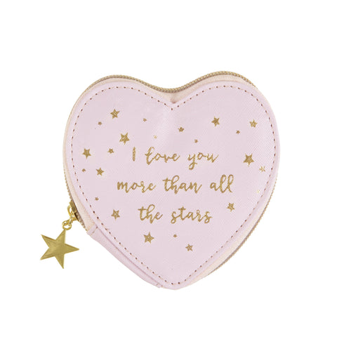 Pink Heart Coin Purse  Scattered Stars Love You More  by Sass & Belle - ash-dove