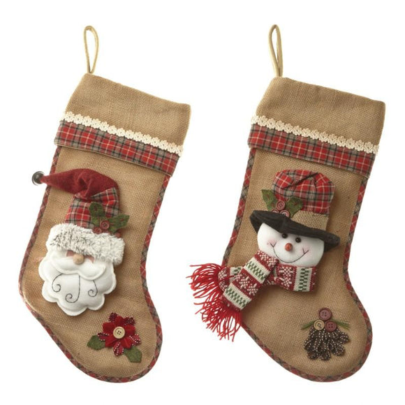 Hessian Christmas stocking by Heaven Sends - ash-dove