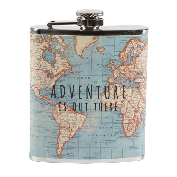 Hip Flask for Men Vintage Map Adventure by Sass & Belle