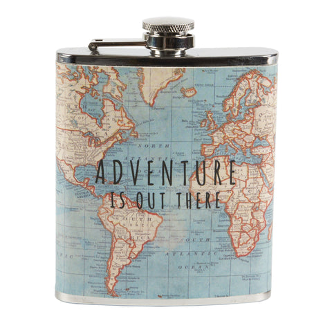 Hip Flask for Men Vintage Map Adventure by Sass & Belle - Ash & Dove