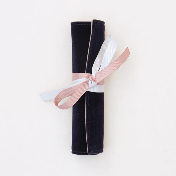Velvet Jewellery Roll in Navy by Caroline Gardner - ash-dove