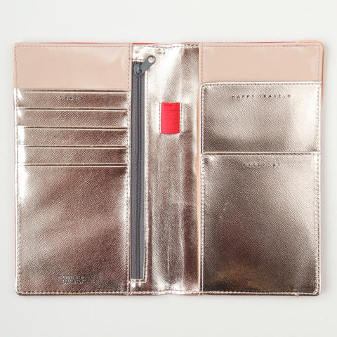 Red Travel Wallet with Rose Gold Inner by Caroline Gardner - Ash & Dove