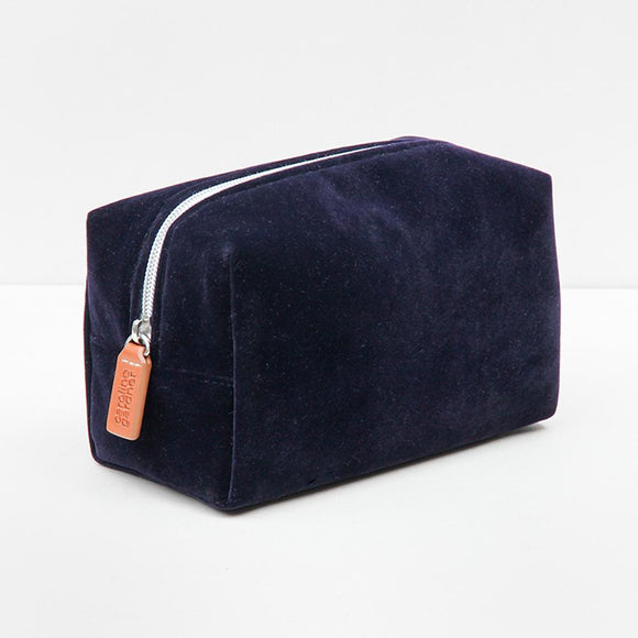 Navy Velvet Cube Cosmetic Bag by Caroline Gardner - ash-dove