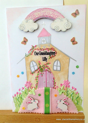Pink and Brown Church Handmade Christening Card