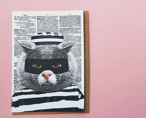 Cat Burglar Blank Greeting Card by Artpress Greeting Cards Artpress