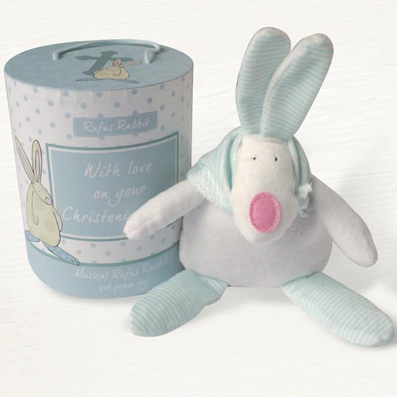 Rufus Rabbit Christening Musical Blue Cot Toy - ash-dove