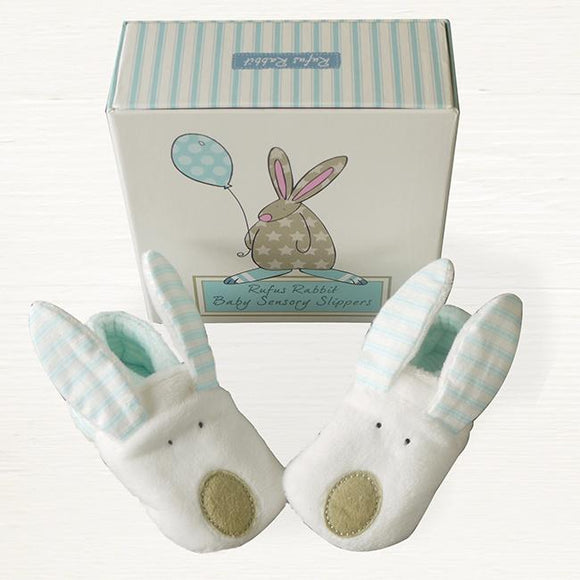 Rufus Rabbit Baby Slippers - Boy 0-6m - ash-dove