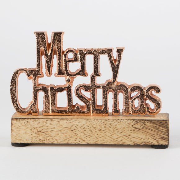Wooden Copper Merry Christmas Sign by Sass & Belle