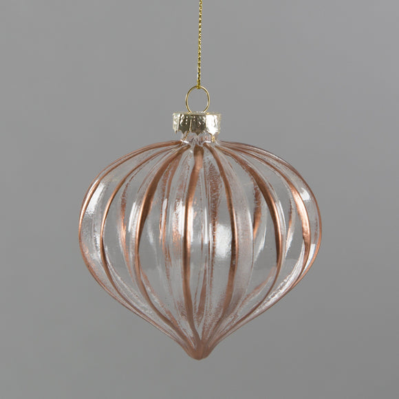 Copper Scalloped Glass Christmas Bauble by Sass & Belle