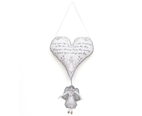 White Hanging Heart Angel Gift