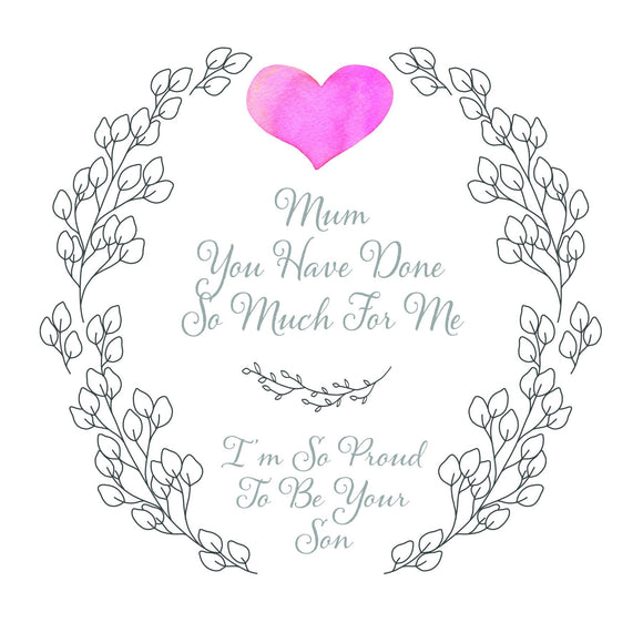 Proud To Be Your Son Mothers Day Card by Ash & Dove - ash-dove