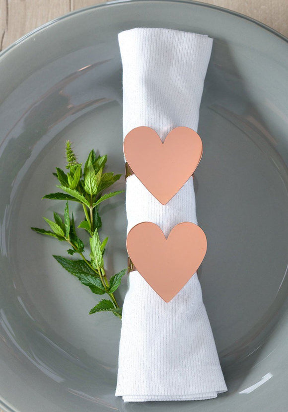 Retreat Home Rose Gold Heart Napkin Rings - ash-dove