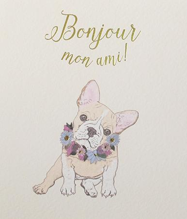 Paperlink Greeting Card Bonjour mon ami ! - ash-dove