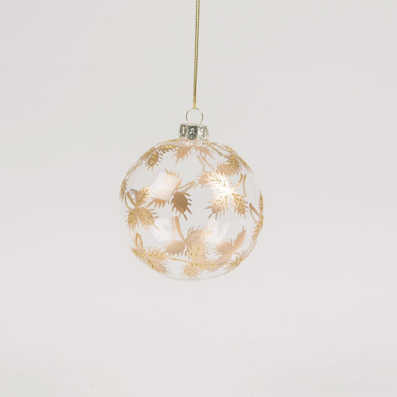 Clear Gold Leaf Glass Christmas Bauble by Sass & Belle - ash-dove