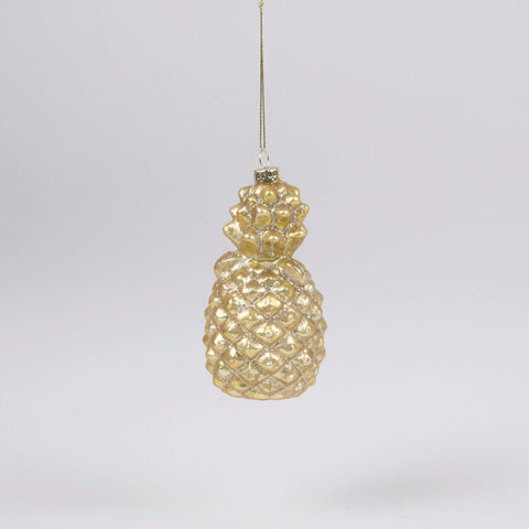 Gold Pineapple Glass Christmas Bauble by Sass & Belle - ash-dove