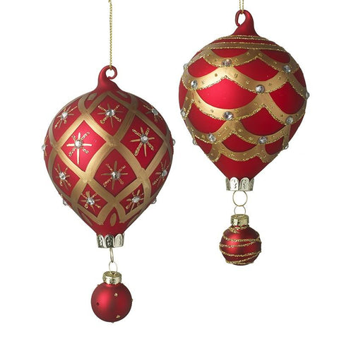 Heaven Sends Red and Gold Glass Bauble Mix of 2