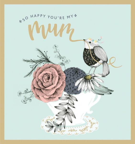 So Happy You're My Mum Mothers Day Card by The Artfile - ash-dove
