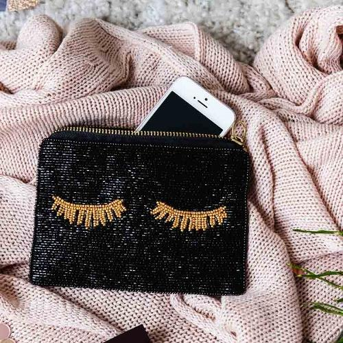 Black Beaded Lashes Mini Clutch Bag by Artebene - ash-dove
