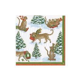Leopards in Snow Cocktail Napkins by Caspari Christmas Shop,Shopping Caspari