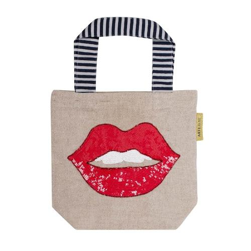 Sequined Red Lips Mini Bag by Artebene - ash-dove