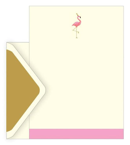 The Artfile Flamingo Boxed Letter Set - ash-dove