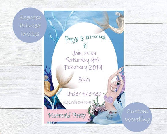Scented Mermaid Kids Party Invites - ash-dove