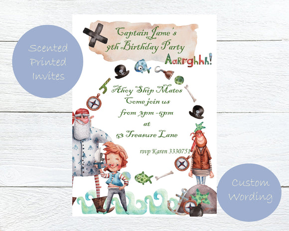 Scented Pirate Kids Party Invites - ash-dove