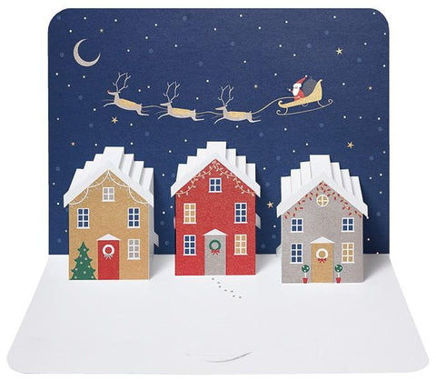 The Artfile Christmas Day Houses Form Pop Up Greeting Card - ash-dove