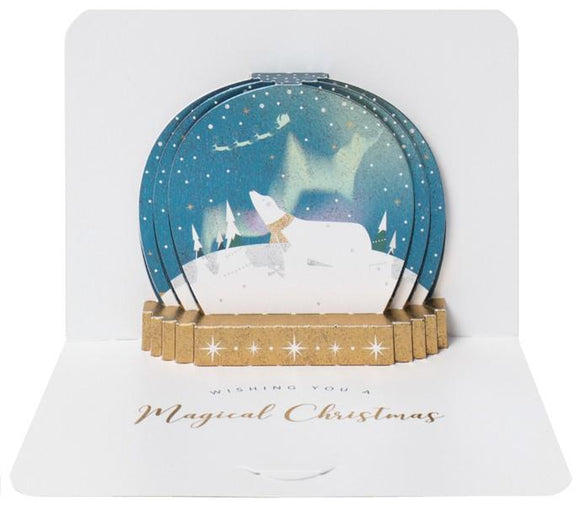 The Artfile Christmas Snow Globe form Pop Up Greeting Card - ash-dove