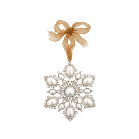 Large Pearl Snowflake Hanging Decoration by London Ornaments - ash-dove