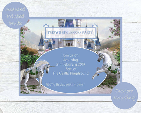 Scented Unicorns Kids Party Invites - ash-dove