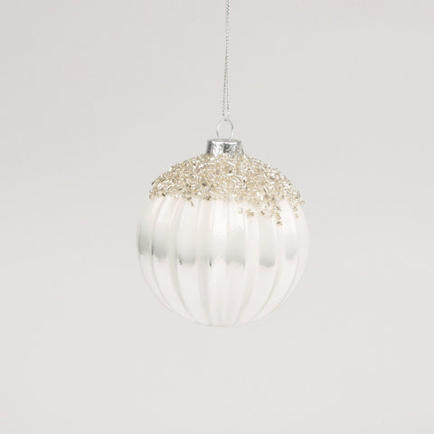 Luxury Beaded White & Silver Glass Bauble by Sass & Belle - ash-dove