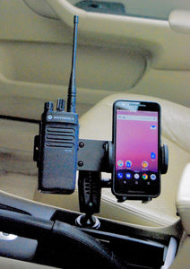 Cup Holder Mount For All Two Way Radio With Cell Phone Holder