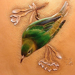 Hand Painted Leather Bird Pattern