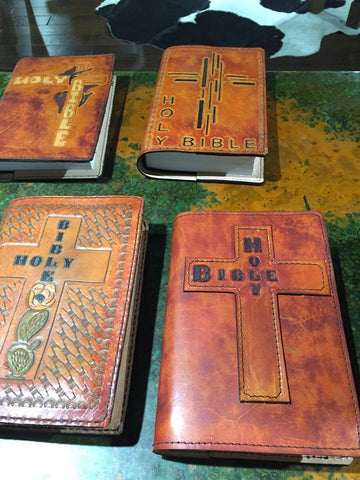 Hand Tooled Leather Book Covers