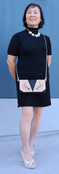 Mom with Black Dress and Hand Carved and Hand Painted Leather Fish Crossbody Clutch