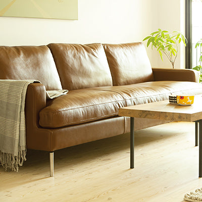 Semi-Aniline Brown Leather Sofa