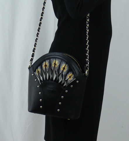 Bellorita Hand Carved and Hand Painted Feather Black Shoulder Bag