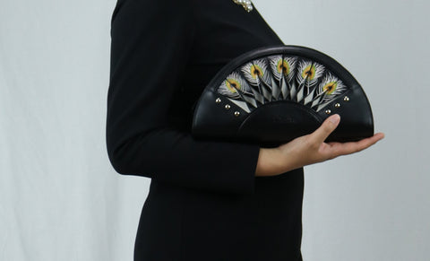 Bellorita Hand Carved and Hand Painted Leather Feather Black Crossbody Clutch