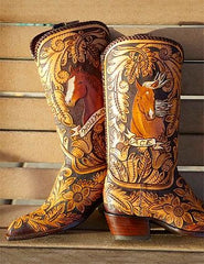 Hand Tooled Leather Boots