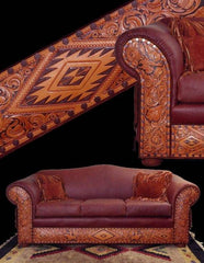 Hand Tooled Leather Sofa