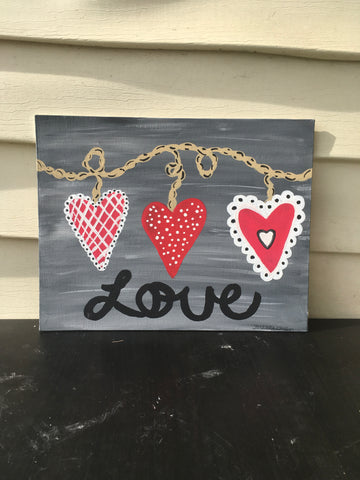 Three Heart Canvas from #PaintwithSHd, connect with your girlfriends IRL.